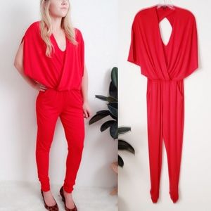 Guess 408 Red Pu Wrap Open Back Romper Jumpsuit